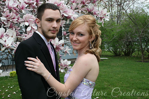 Courtney with boyfriend getting ready to go to her junior prom