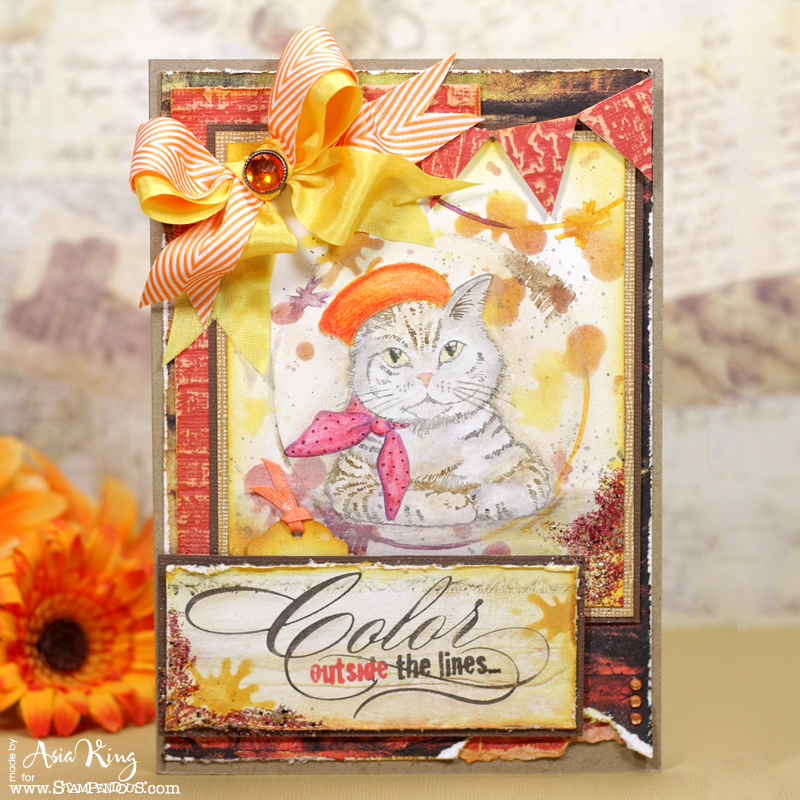 Bonjour Kitty stampendous splatter background fall vintage card by Asia King
