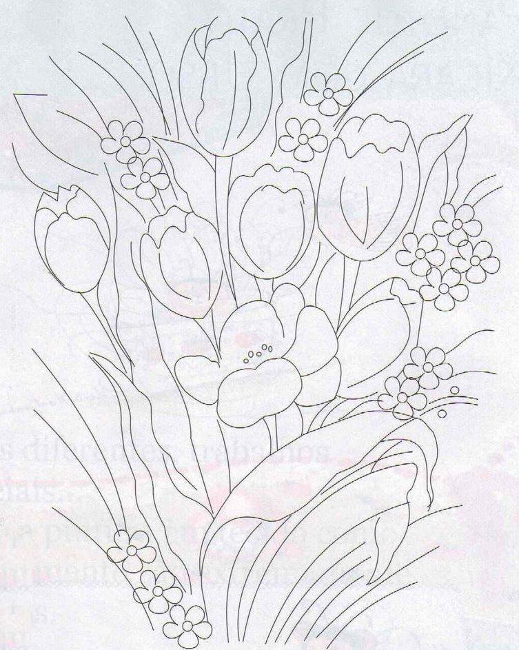 risco de tulipa para pintura em tela