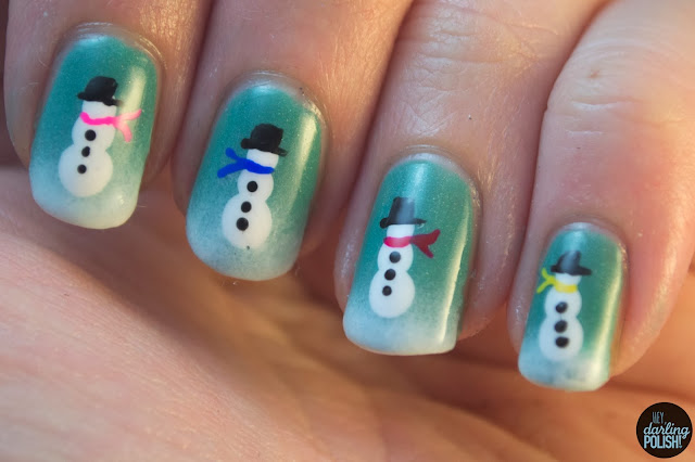 nails, nail art, nail polish, hey darling polish, snowmen, winter, winter nails, snowman, christmas, christmas winter challenge, a study in polish mind palace