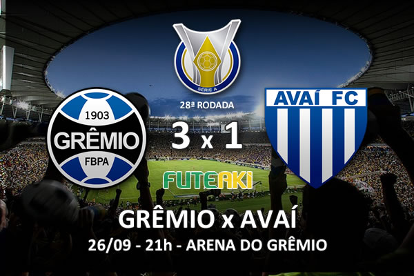 Veja o resumo da partida com os gols e os melhores momentos de Grêmio 3x1 Avaí pela 28ª rodada do Brasileirão 2015.
