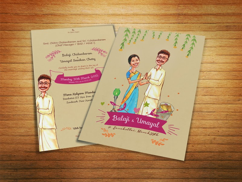 illustrated wedding card india
