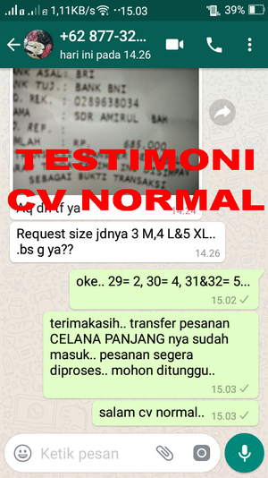 TESTIMONI PEMBELI CELANA PANJANG CV NORMAL