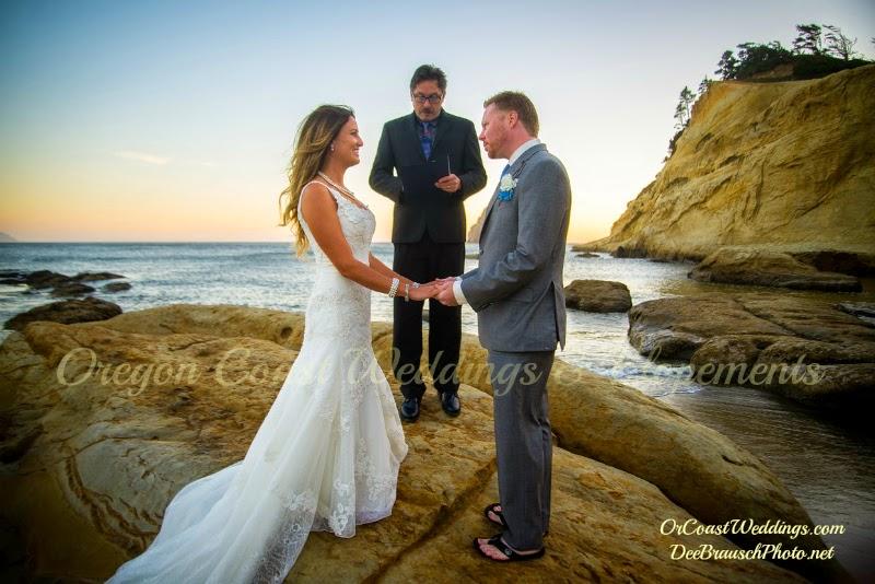 Oregon Coast wedding ceremony on rocks with blue ocean