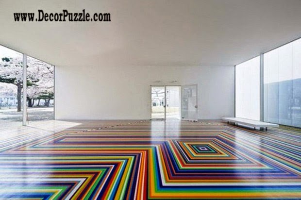 3d floor art pattern and self-leveling floor,colorful striped flooring ideas
