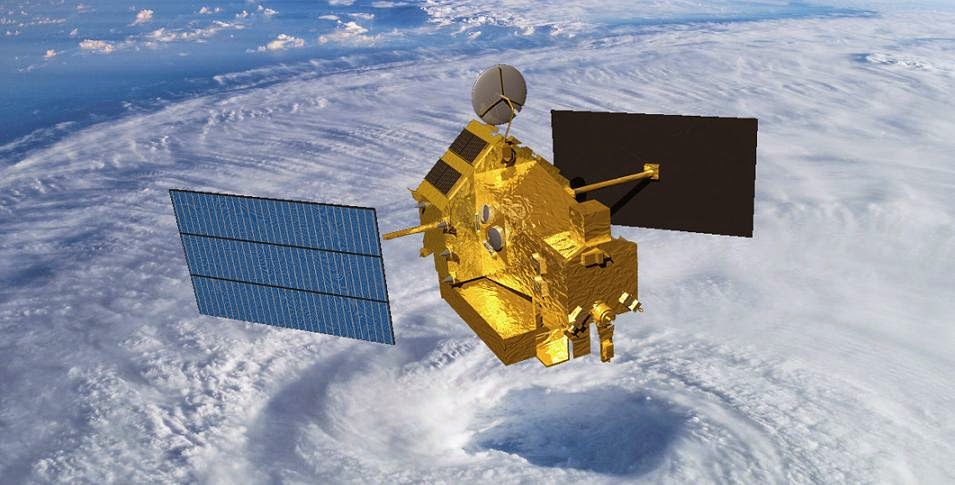 This artist rendering shows the TRMM satellite orbiting over a hurricane's eyewall. Image Credit: NASA
