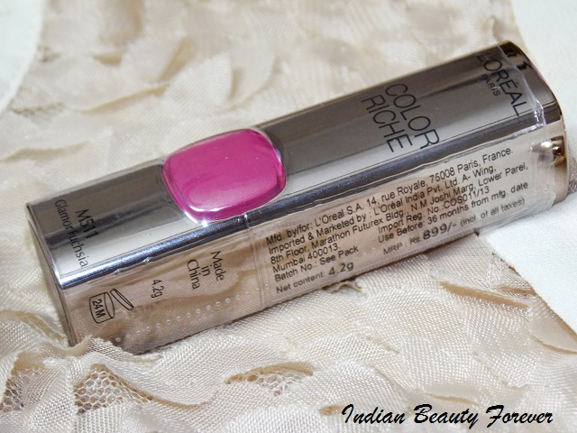 L'Oreal Moist Matte Lipstick In Glamor Fuchsia Review