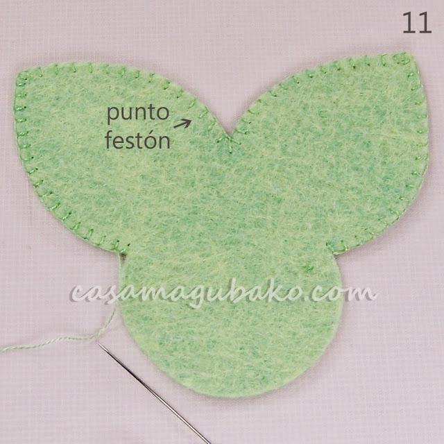Flor en Fieltro - Hojas by casamagubako.com