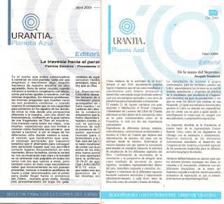 Dos ejemplares del Boletin Urantia Planeta Azul