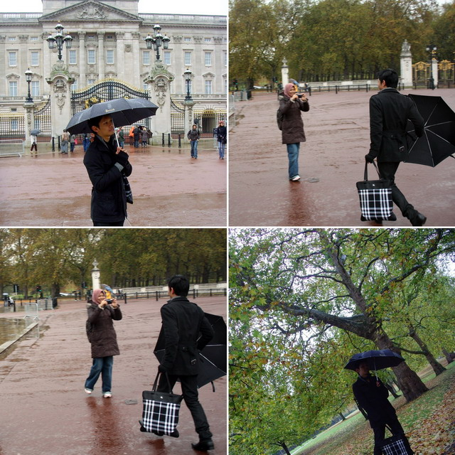 London, Buckingham Palace, Burberry checks tote, Harrods umbrella, zara boots, Burton military coat