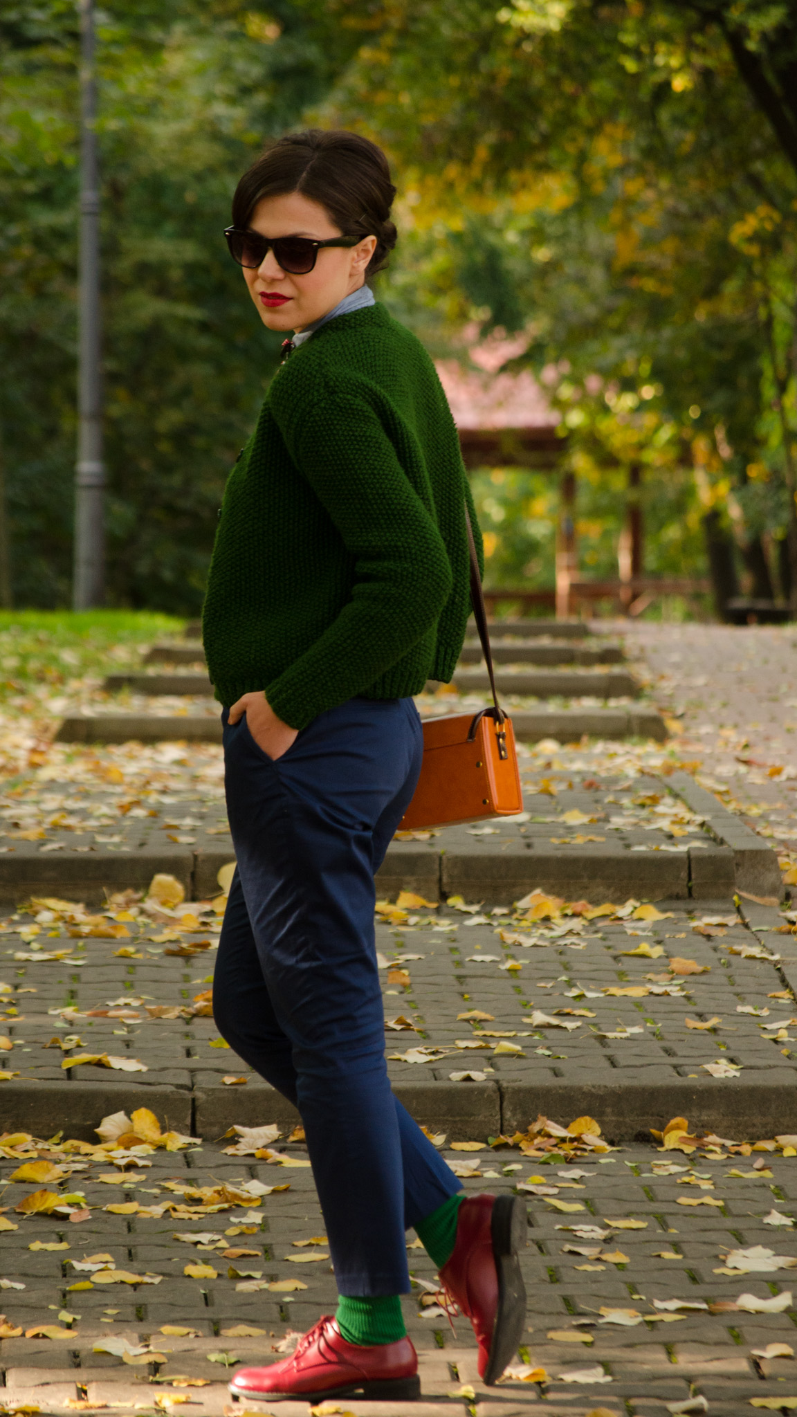 navy blue pants knitted green sweater shirt mustard square bag cherries h&m thrifted  burgundy man shoes oxford