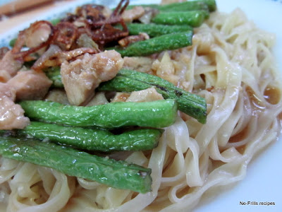 Long beans chicken noodles