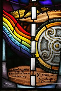 Photo of An Cultúrlann stained glass window by Nuacht24.com