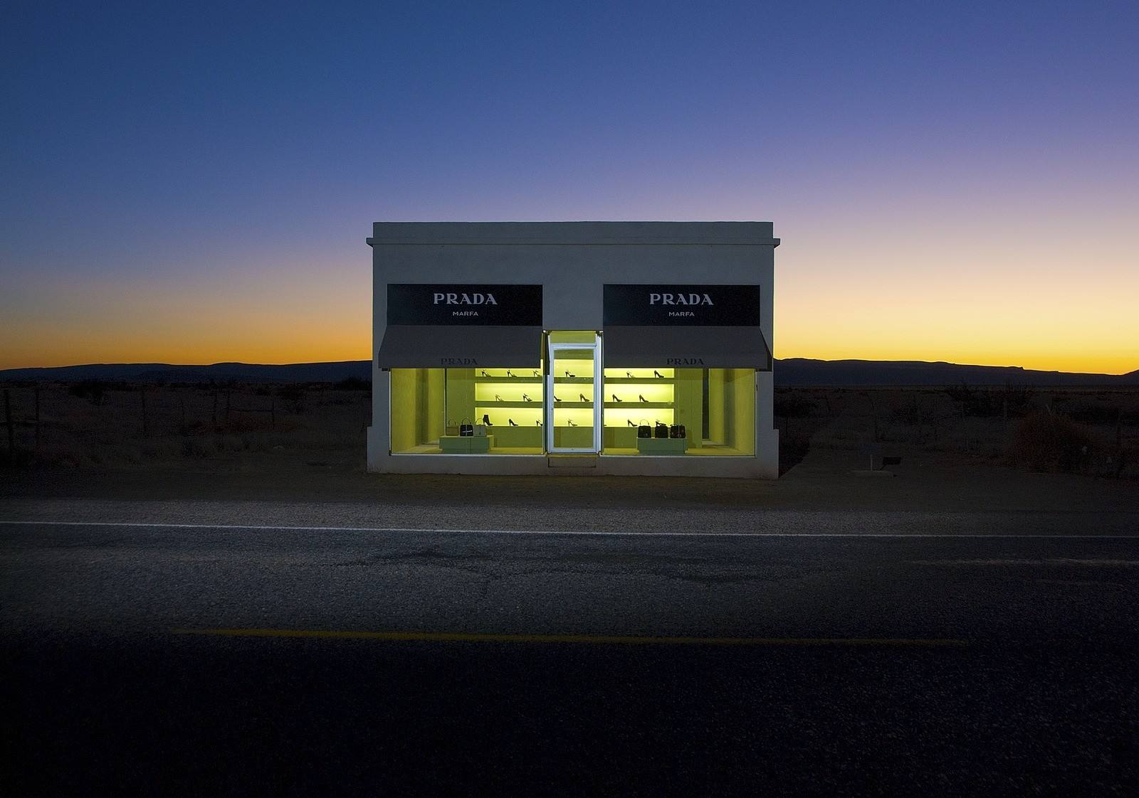 fashionspam prada marfa sign by elmgreen dragset. Black Bedroom Furniture Sets. Home Design Ideas