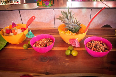 Colorful serving dishes for Luau Party - True Blue Style Event Planning