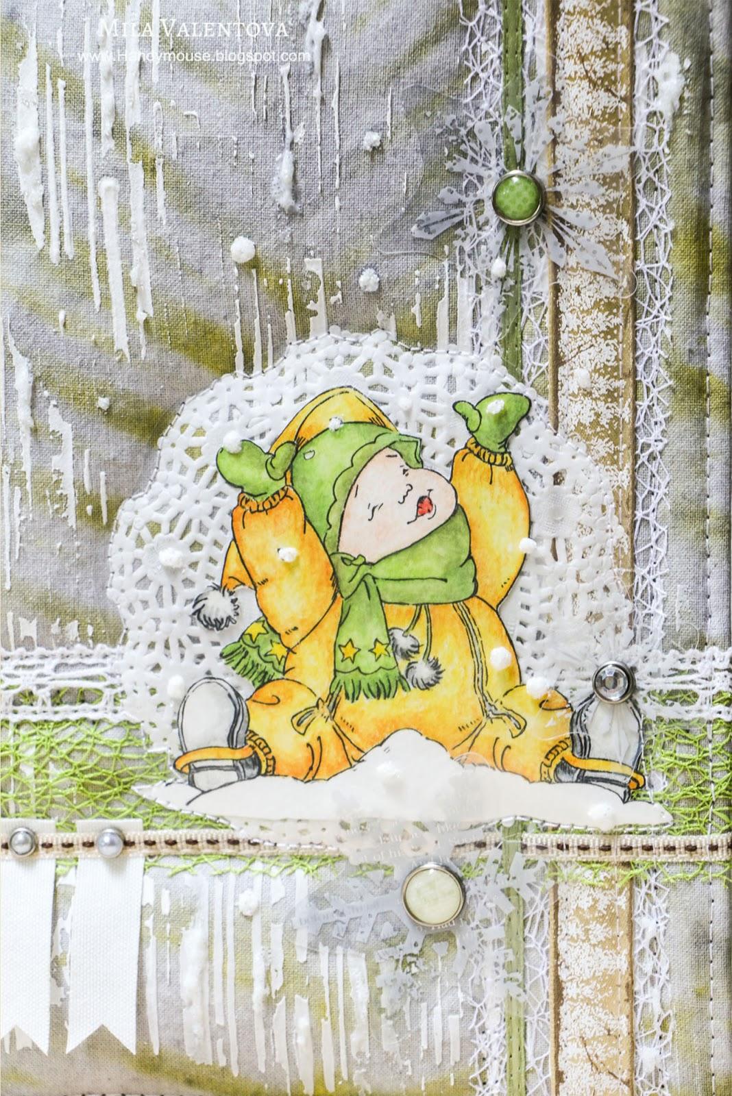 Детская папка для документов . Первый снег. Скрапбукинг. Мила Валентова