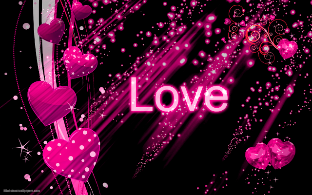 Black abstract wallpaper with pink love hearts