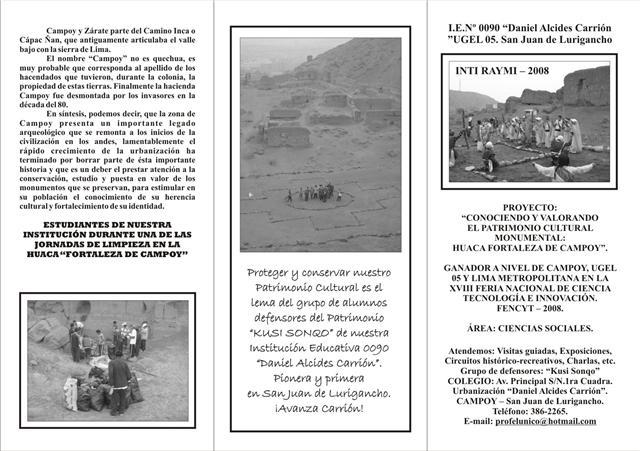 GRACIAS A LA FAMILIA CAHUANA DE CAMPOY TENEMOS ESTE LINDO MATERIAL.