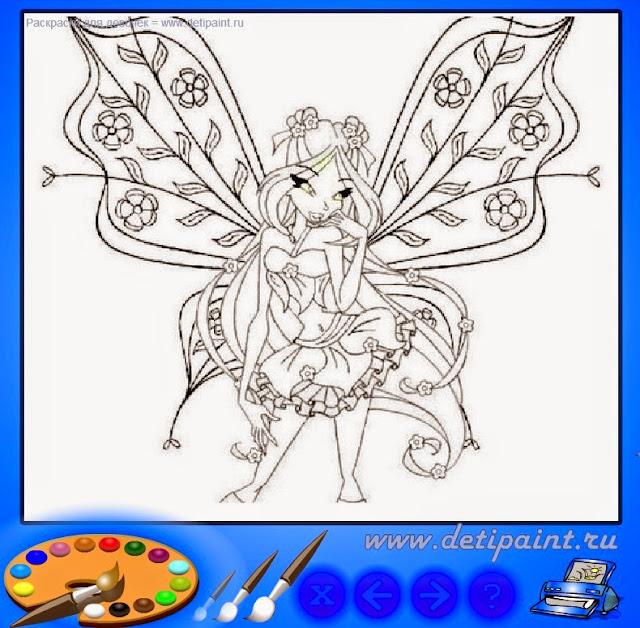 Флэш раскраска Бабочка Винкс