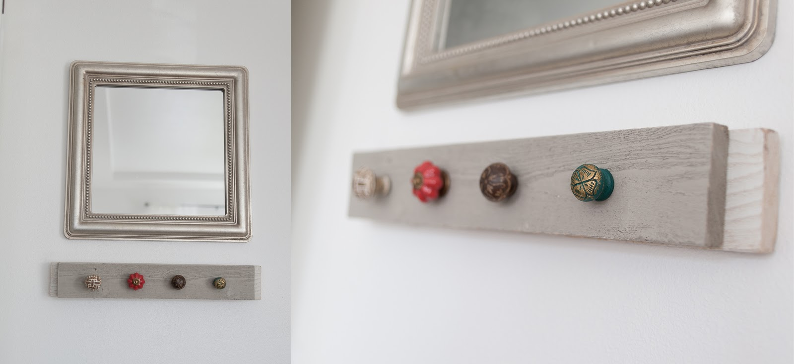 Old wood and new knobs to create DIY Coat rack