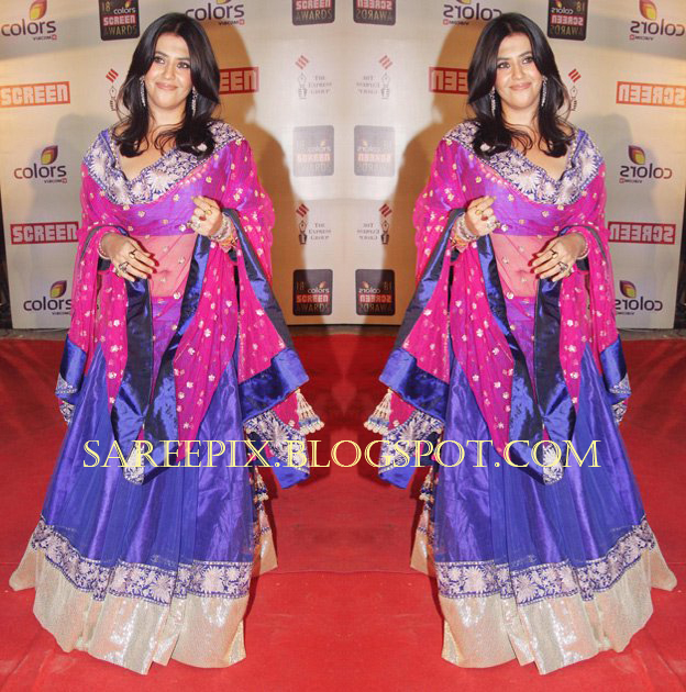 ah! in blue transparent ghagra choli lehenga at colors screen awards