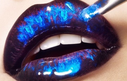 Glossy Blue Lip Makeup