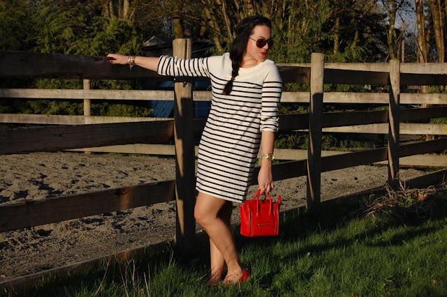 Gap striped dress, Tory Burch ballet flats and a Celine Nano Luggage tote