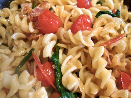 Tomato, Bacon, Spinach Pasta