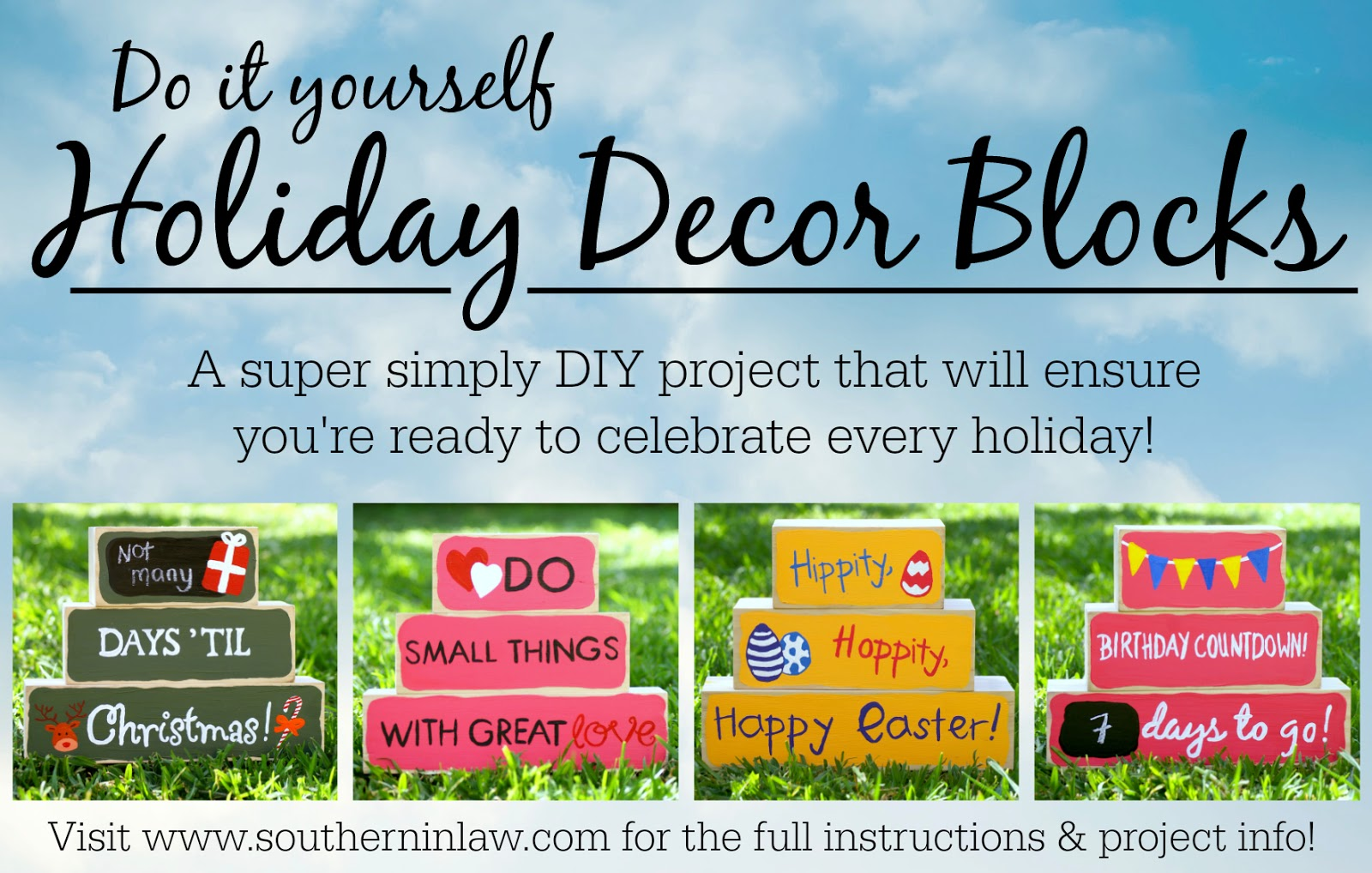 Southern in law diy holiday decor blocks do it yourself holiday decor blocks diy project solutioingenieria Image collections