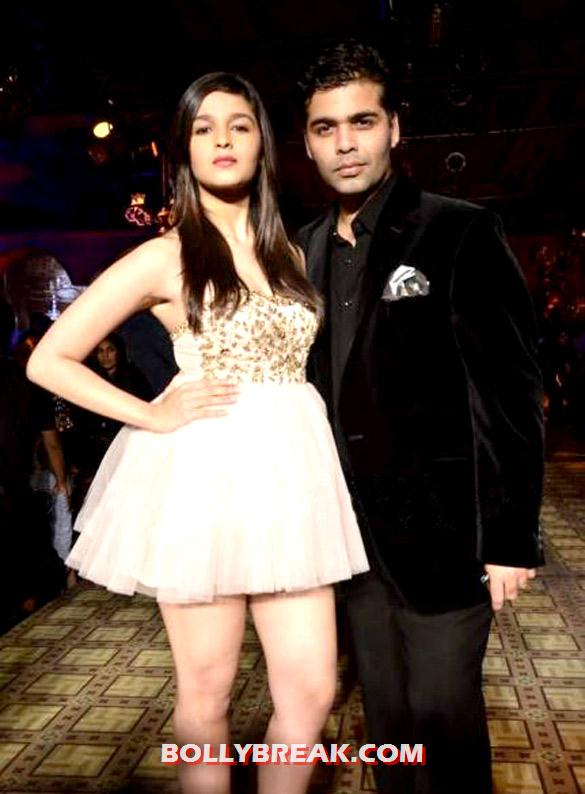 Alia Bhatt, Karan Johar - Alia Bhatt in short Dress with Karan Johar at PCJ Delhi Couture Week 2012