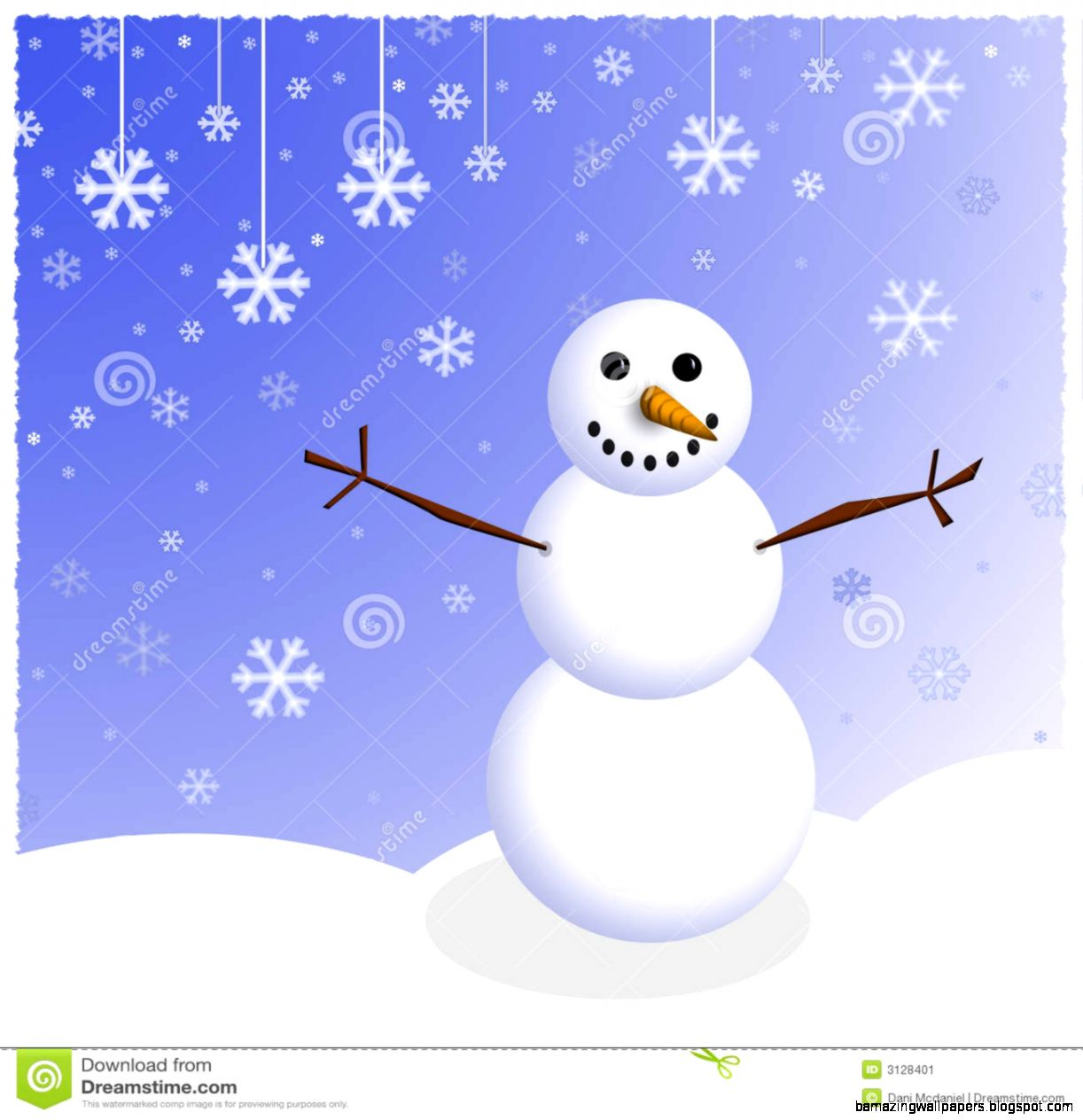 Winter Snowman Scene Stock Image   Image 3128401