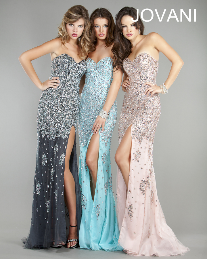 Jovani Prom Dresses 2013 long black seuqins crystal split