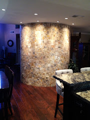 Tumbled Travertine Mosaic Radius Wall