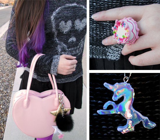 Kawaii Outfit and Heart Bag Unicorn Necklace Cake Ring