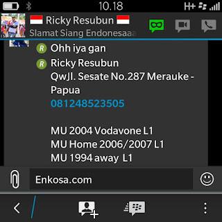 Konfirmasi alamat lengkap dan detail pesanan Ricky Resubun oleh enkosa sport