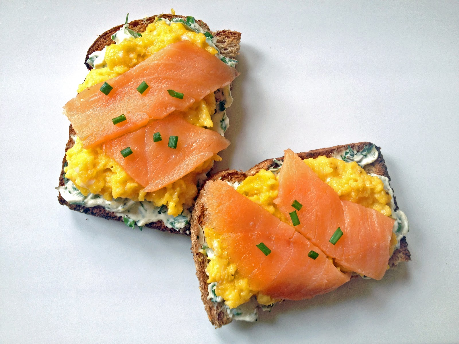 lish: Scrambled Egg Tartine with Smoked Salmon & Herb Cream Cheese