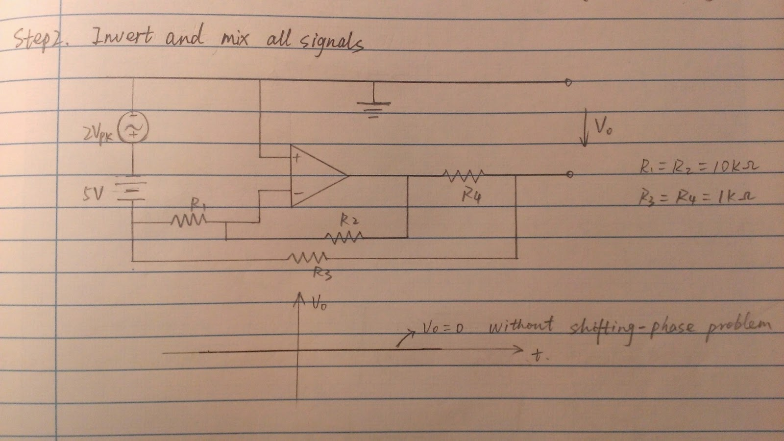 Regulated Linear Dc Power Supply Single Polarity By Ic Lm741 This Step Is To Mix The Original Signal From Source And Inverting Processed Operational Amplifier