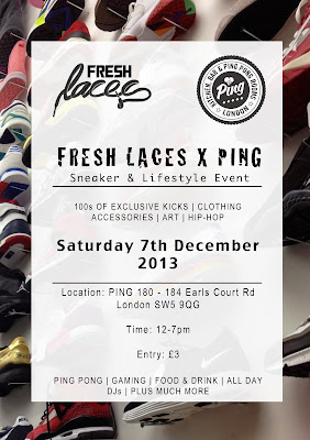 Fresh Laces, Ping, Elisha Francis, Earls Court, December events, Sneaker Event