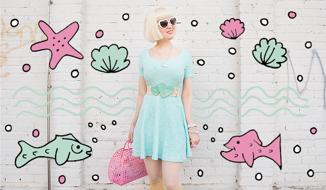 Mint dress, pastel outfit, tatty devine shell necklace
