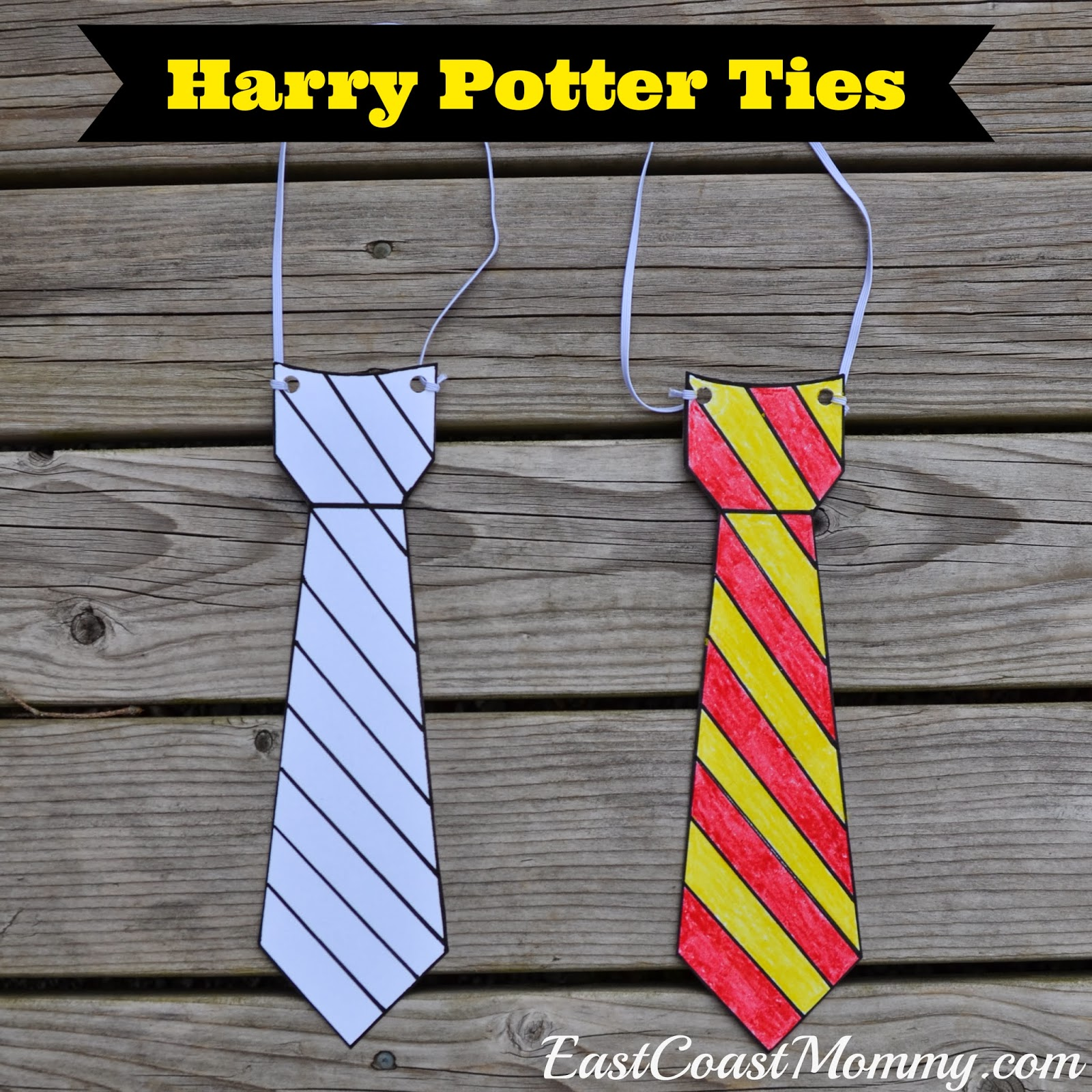 East coast mommy harry potter glasses and ties with free for Harry potter tie template