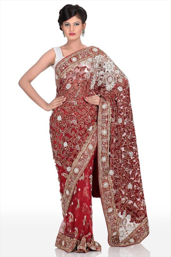 indian Maroon Net Sarees