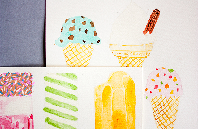 watercolour paintings of ice creams and ice lollies
