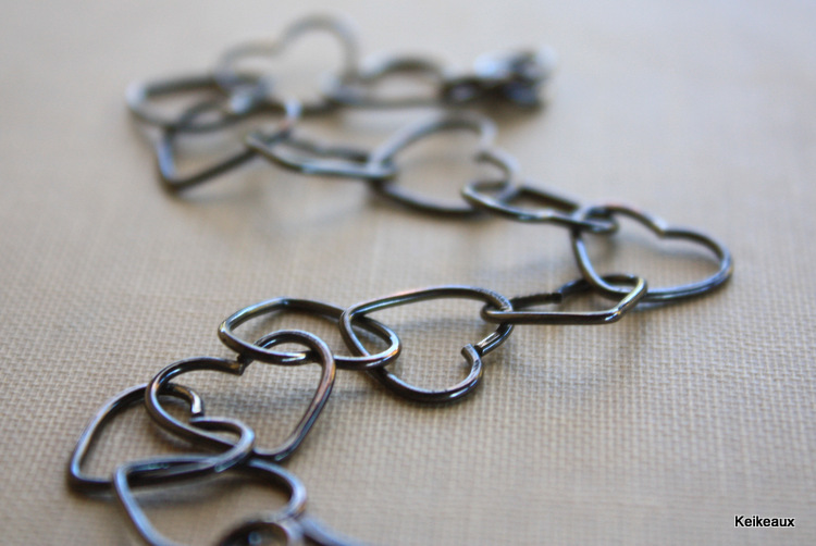 Oxidized Heart Bracelet