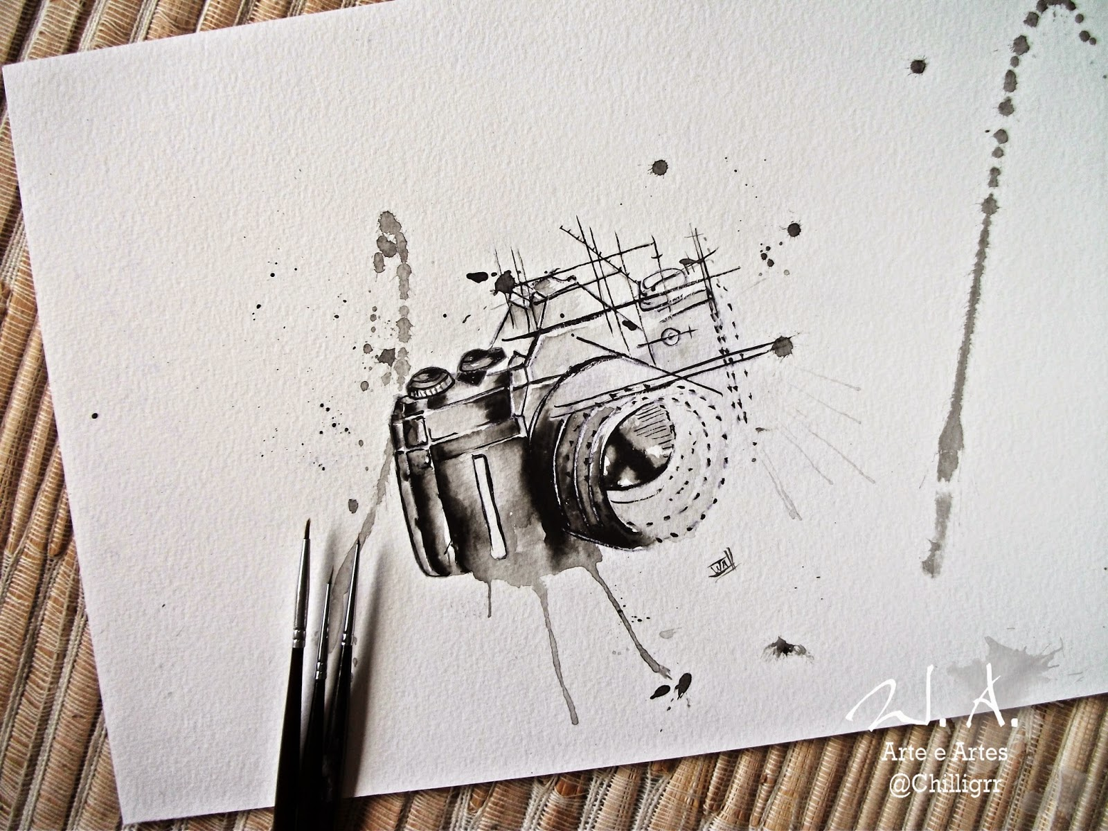 câmera fotográfica, camera pintura, pintura de camera, watercolor, aquarela, pintura aquarela, watercolor camera tattoo, camera tattoo, tattoo art,