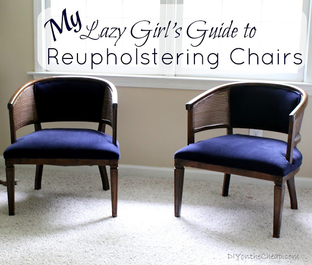 Lazy Girl's Guide to Reupholstering Chairs {Tutorial} via DIYontheCheap.com