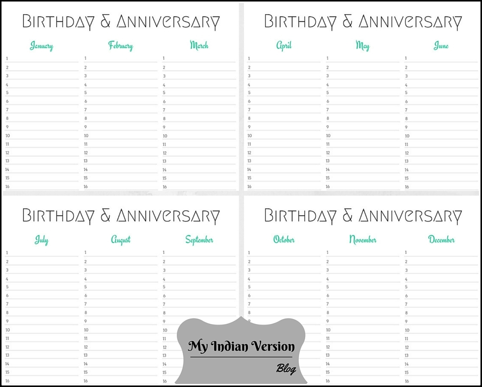 My Indian Version Birthday Anniversary Calendar Free Printable