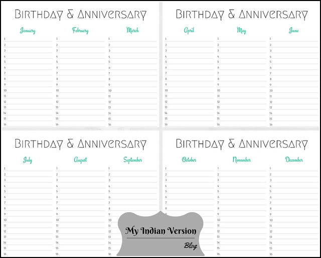 4-Page Layout - Mint Birthday Anniversary Calendar