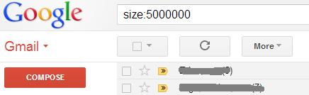 Pesquisa por tamanho no Gmail