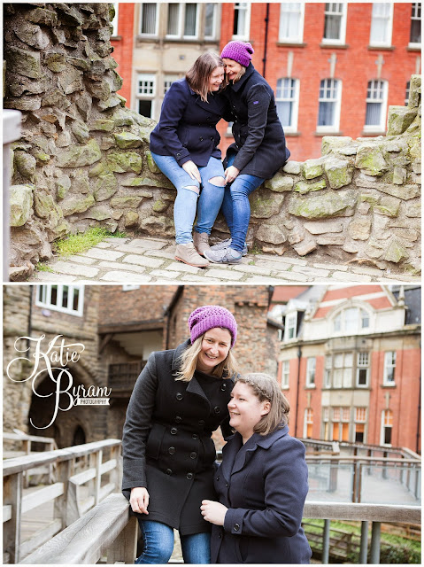 cherry blossom, newcastle city centre, same sex couple, gay wedding, katie byram photography, two brides, gay engagement, castle keep, the black gate