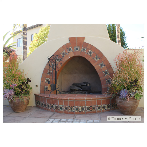 Spanish revival outdoor fireplace » Sage Outdoor Designs